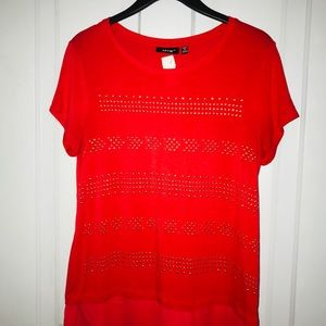 Apt9 tops Red Shirt Medium and gold studs